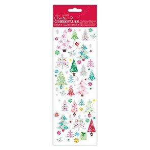 Docrafts Vánoční 3D samolepky - barevné stromky