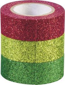 Sada samolepicích papírových washi pásek Heyda - Zelená, zlatá, červená