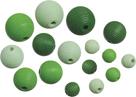 Dřevěné korálky, mix - zelená (20 ks)