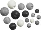 Dřevěné korálky, mix - černá, šedá, bílá (20 ks)