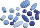 Dřevěné korálky, mix různé tvary - modrá (20 ks)