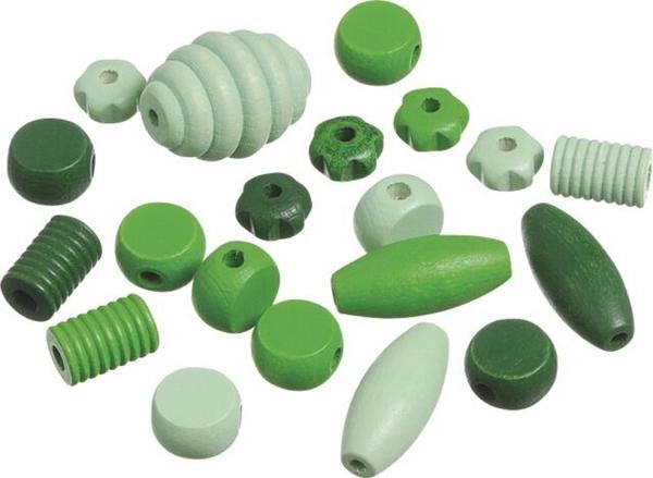 Dřevěné korálky, mix různé tvary - zelená (20 ks)