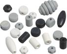 Dřevěné korálky, mix různé tvary - černá, šedá, bílá (20 ks)