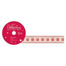 Docrafts Vánoční bavlněná krémová stuha - Vločky