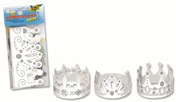 Papírové masky - korunky pro následnou dekoraci - 6 kusů bílé s potiskem