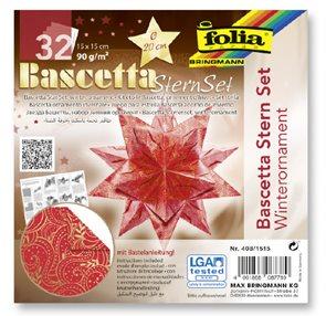 Bascetta - hvězda, 90 g/m2 - červená/zlatá