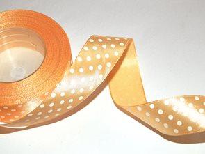 Stuha saténová s puntíky - světle oranžová (12 mm x 32 m)
