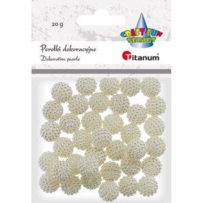 Korálky plastové, 20 g - perleťově bílé