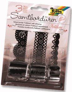 Papírové samolepicí bordury, krajky - černé