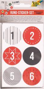 Kulaté samolepky s čísly pro adventní kalendáře