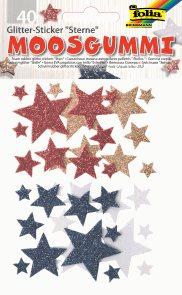 Folia samolepky pěnové - třpytivé hvězdy