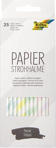 Papírová brčka - sada 25 ks - mix barev - pastelové proužky