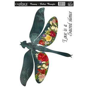Nažehlovací obrázek na textil Cadence - květinová vážka, 25 x 35 cm