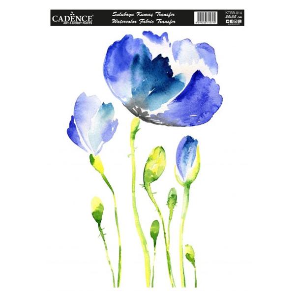 Nažehlovací obrázek na textil Cadence - akvarelové vlčí máky, 25 x 35 cm