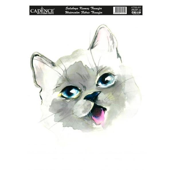 Nažehlovací obrázek na textil Cadence - akvarelová kočka, 25 x 35 cm