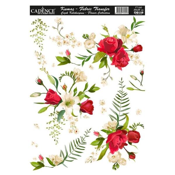 Nažehlovací obrázek na textil Cadence - růže a lilie, 25 x 35 cm