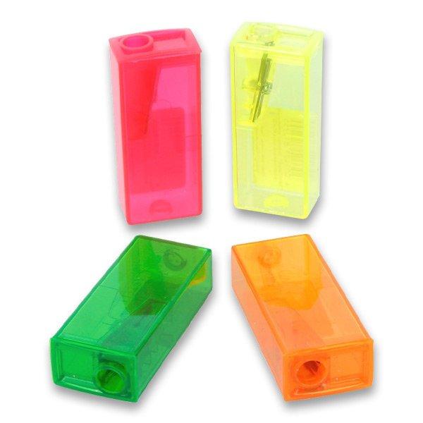 Ořezávátko Faber-Castell plastové se zásobníkem - mix fluo-barev
