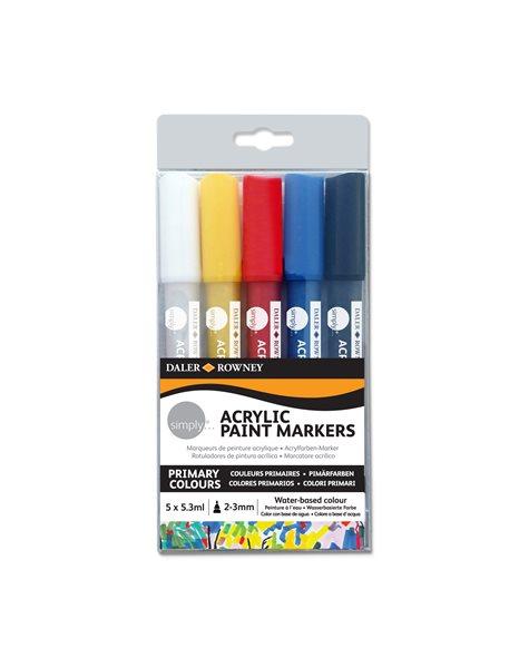 Sada akrylových popisovačů- 5 barev - bílá, žlutá, červená, modrá, černá