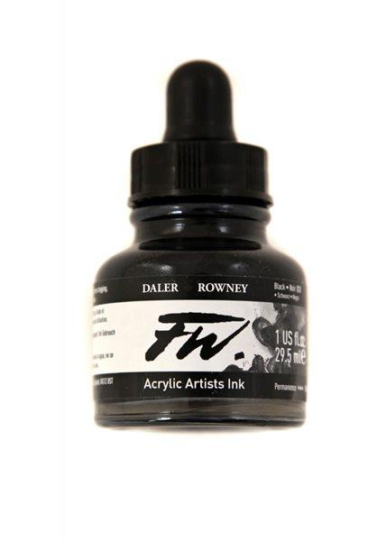 Umělecká akrylová tuš Daler Rowney 29,5 ml - Black (INDIA)