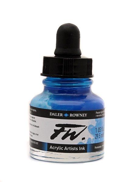 Umělecká akrylová tuš Daler Rowney 29,5 ml - Process Cyan