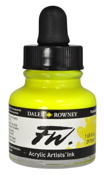 Umělecká akrylová tuš Daler Rowney 29,5 ml - Fluo Yellow