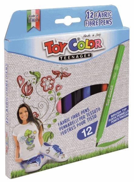 Sada fixů na textil Toy Color, 12 barev