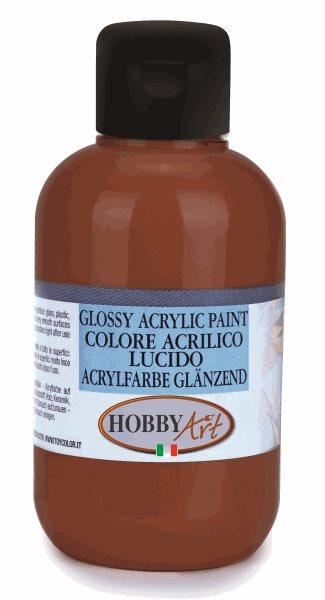 Akrylová barva Hobby Art, lesklá 250ml - hnědá