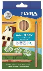 Sada pastelek Lyra Super Ferby Nature JUMBO, trojhranné, 12 ks