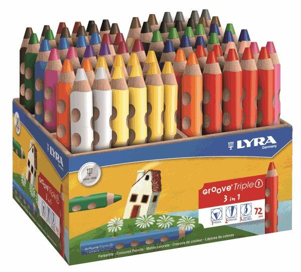 Sada pastelek Lyra GROOVE 3v1, trojhranné v dřevěném stojánku - 72 ks (18 barev)