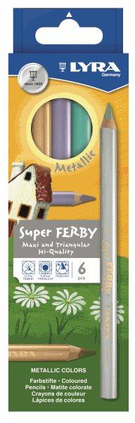 Sada pastelek Lyra Super Ferby JUMBO, trojhranné - Metalické barvy, 6 ks