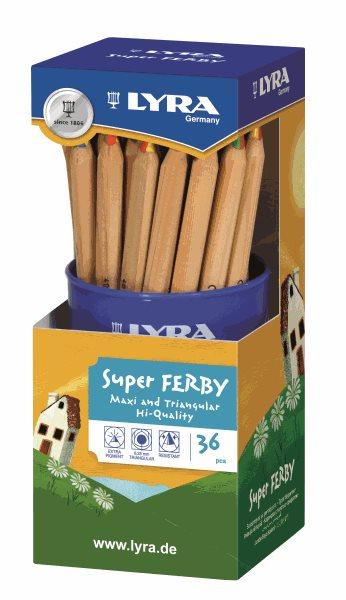 Sada pastelek Lyra Super Ferby JUMBO 4-color v tubě, trojhranné, 36ks, Sleva 20%