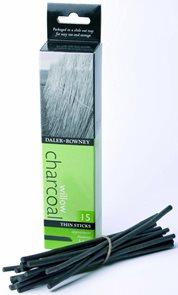 Umělecký přírodní uhel Daler-Rowney - slabý, 3 - 4 mm ( 15 ks )