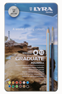 Akvarelové pastelky LYRA Graduate v kovovém pouzdru, 12 ks