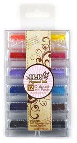 Malé barevné polštářky pro razítkování (12 ks)