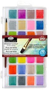 Akvarelové barvy perleťové, 28 ks + štětec
