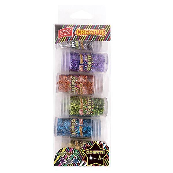 Dekorativní konfety MIX srdíčka + hvězdičky 6 metal barev, 6 x 8 g
