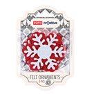 Dekorativní plstěné ozdoby - sněhová vločka  3 kusy (červeno/bílá)
