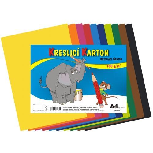 Kreslící karton barevný A4 - 180g - 10 ks - mix 10 barev