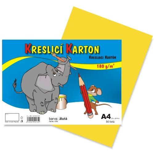 Kreslící karton barevný A4 -180g - 50 ks - žlutý