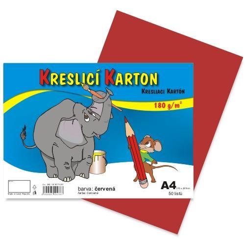 Kreslící karton barevný A4 -180g - 50 ks - červený
