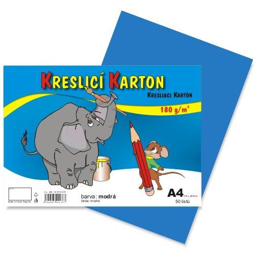Kreslící karton barevný A4 -180g - 50 ks - modrý