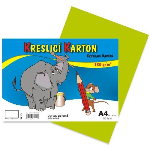 Kreslící karton barevný A4 -180g - 50 ks - zelený