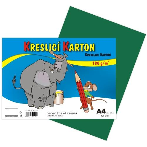 Kreslící karton barevný A4 -180g - 50 ks - tmavě zelený