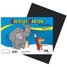 Kreslící karton barevný A4 -180g - 50 ks - černý
