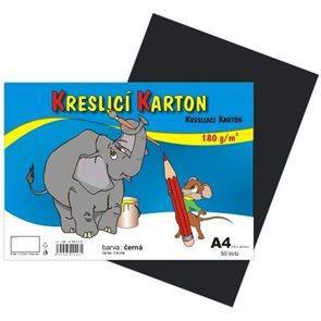 Kreslicí karton barevný A4 -180g - 50 ks - černý