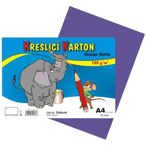 Kreslící karton barevný A4 -180g - 50 ks - fialový