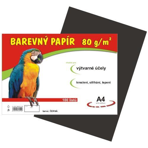 Barevný papír A4 80g - 100 ks - černý