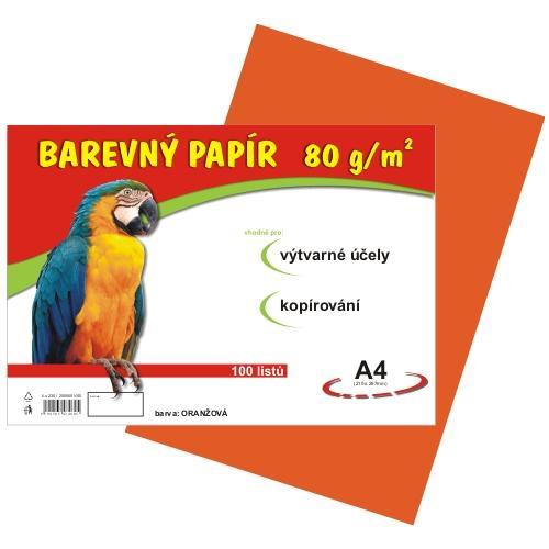 Barevný papír A4 80g - 100 ks - oranžový