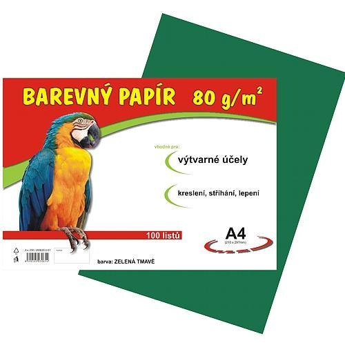 Barevný papír A4 80g - 100 ks - tmavě zelený