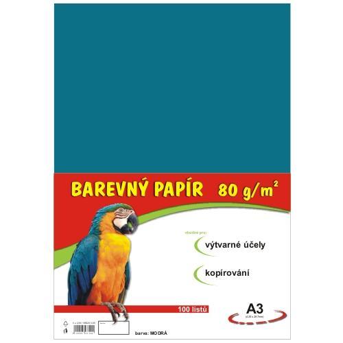 Barevný papír A3 80g - 100 ks - modrý